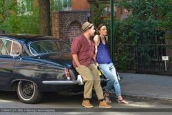 Keira Knightley with Brit James Corden filming  'Can a Song Save Your Life?' July 26